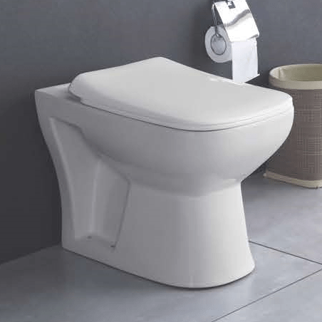 Ceramic Floor Mounted EWC S Trap European Commode Water Closet With Soft Close Seat Cover (Ivory) - inartstore.in