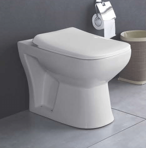 Ceramic Floor Mounted EWC S Trap European Commode Water Closet With Soft Close Seat Cover (White) - inartstore.in