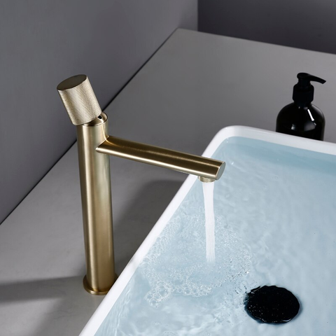Wash Basin Mixer Hot & Cold Pillar Cock Basin Tap (Gold)