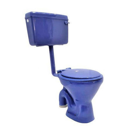 Ceramic EWC S Trap Normal With Flush Tank And Seat Cover Western Commode  (Dark Blue) - inartstore.in