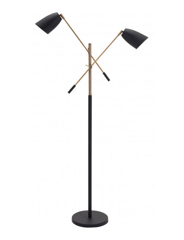 Tend Matt Black & Brass Floor Lamp