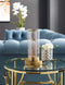 Mordred Cylindrical Shaped Clear Glass And Brass Table Lamp