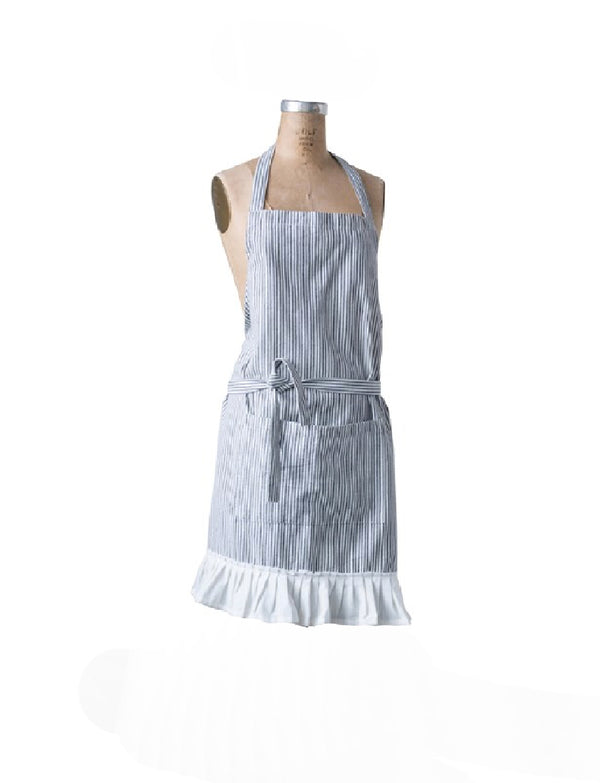 Cotton Woven Apron w/ Pocket & Ruffle, Black & Cream