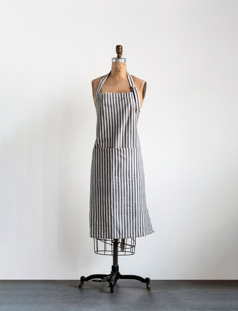 Cotton Striped Apron, Grey
