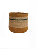 Woven Natural Seagrass Striped Baskets, Multi Color