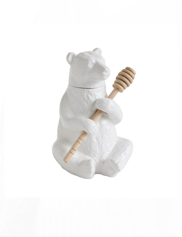 Ceramic Bear Honey Pot w/ Bamboo Honey Dipper
