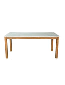 TEAK & MARBLE DINING TABLE