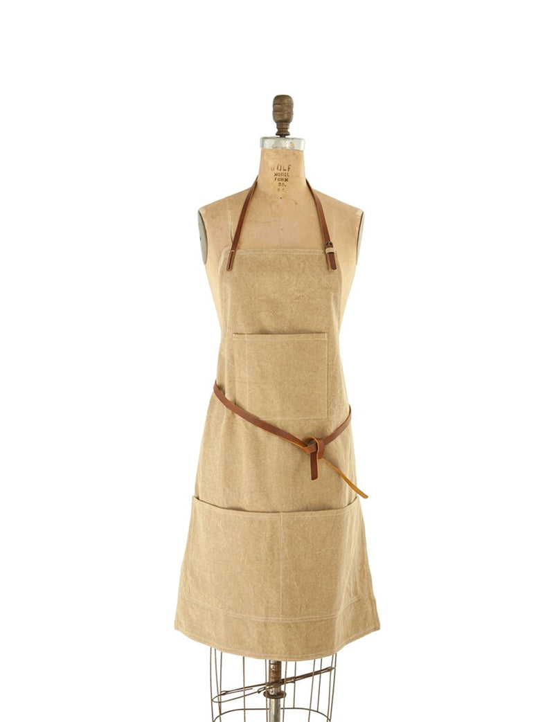 Cotton Canvas Apron w/ Pockets & Leather Ties