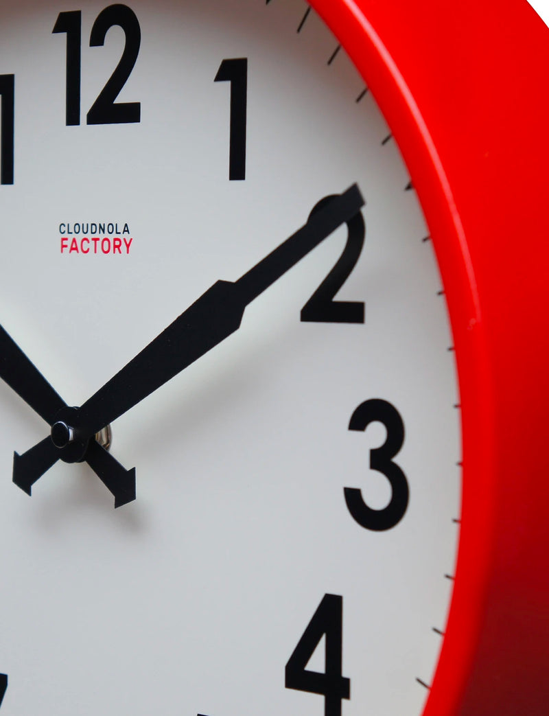 Factory Red Numbers Clock 12""