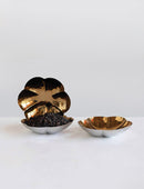 Stainless Steel Flower Shaped Dish, Brass Finish