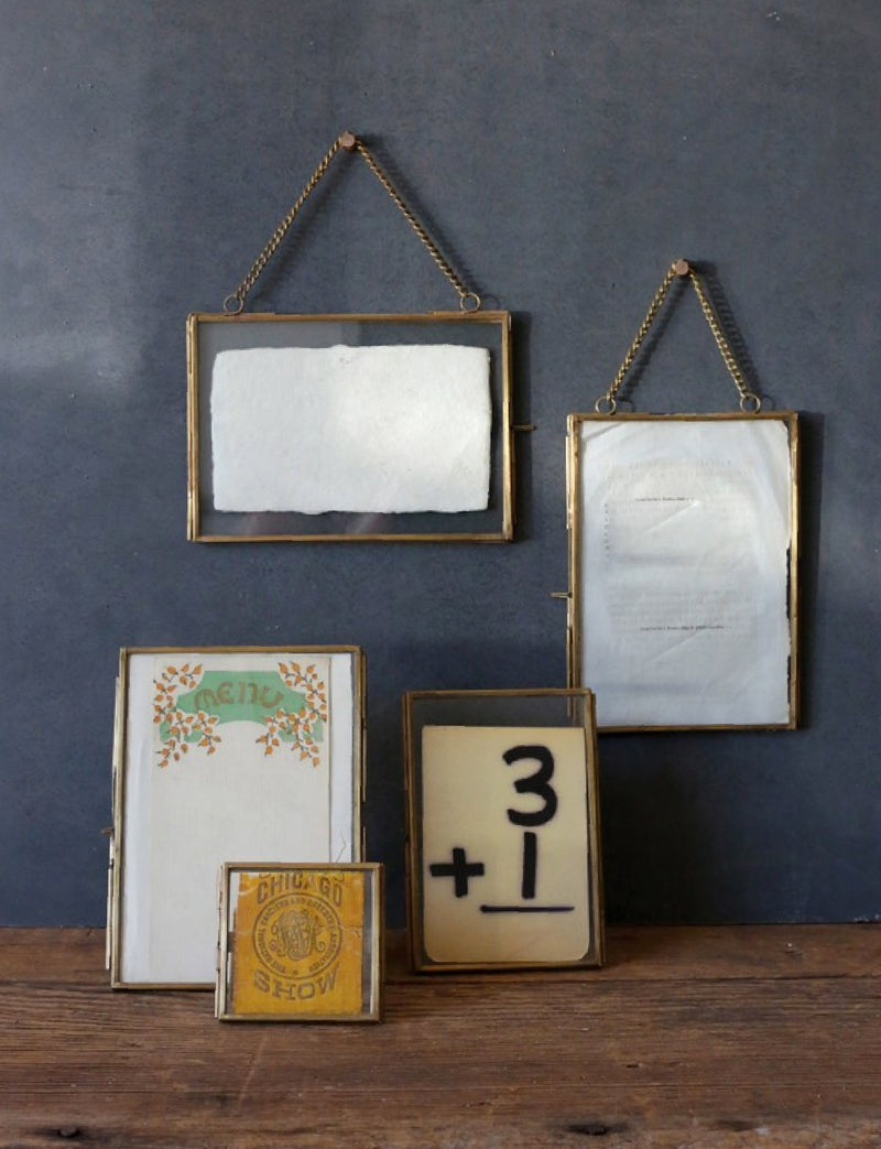 Brass & Glass Photo Frame w/ Chain