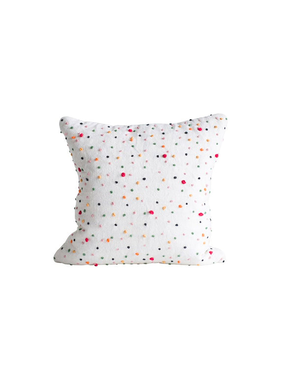 Square Cotton Pillow w/ French Knots / 18""