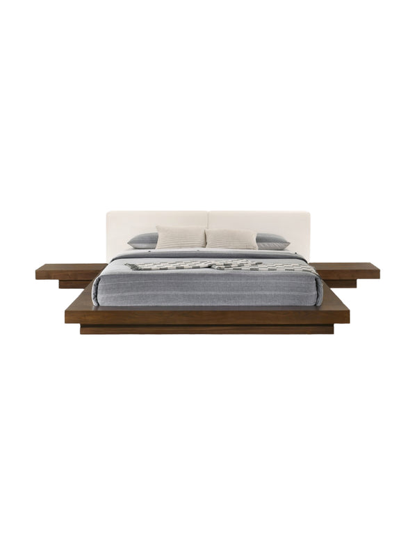 Fuji Bed, Walnut & White