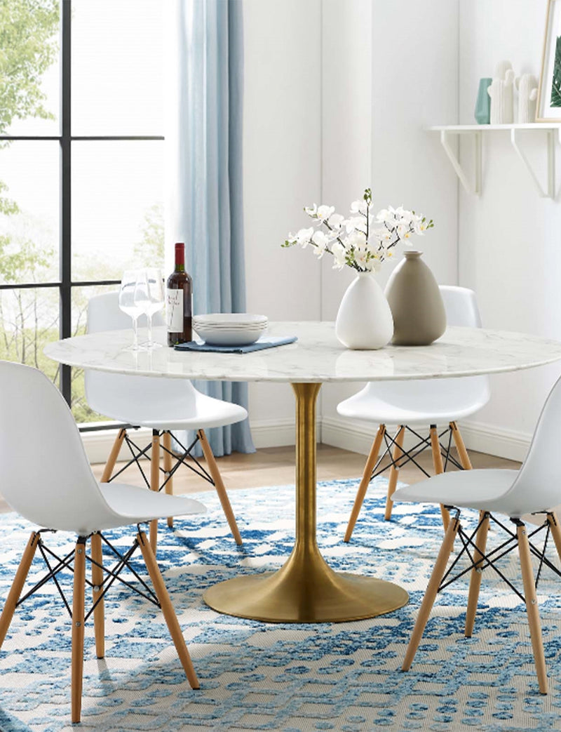Lily Round Marble Dining Table, Gold Base