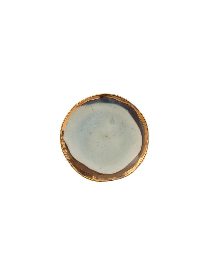 Gold Electroplating Round Ceramic Plate / 5""