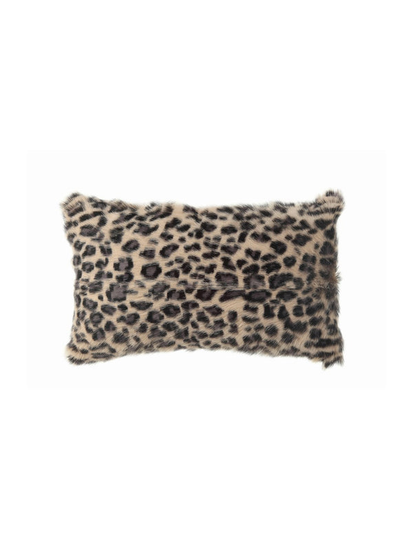 "Goat Fur Pillow, Leopard Print / 20"" x 12"""
