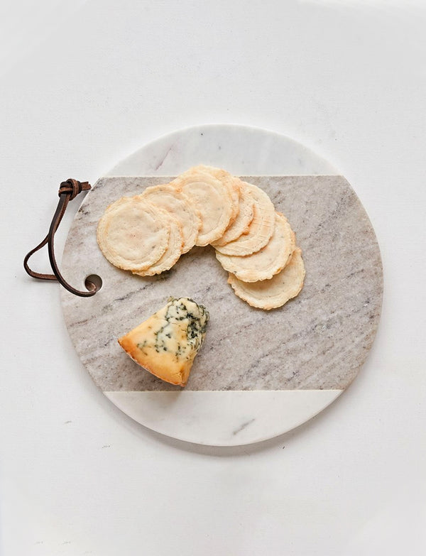 Grey & White Round Marble Cheese Board / 9""