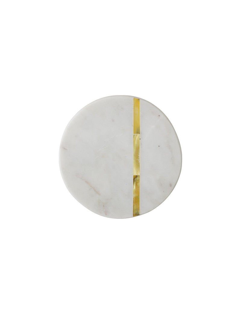 Round Marble Coasters w/ Gold Finish Metal Inlay