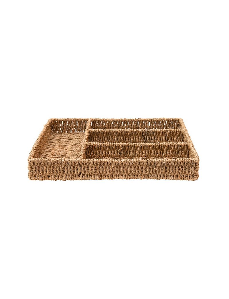 4-Sectioned Hand-Woven Seagrass Tray