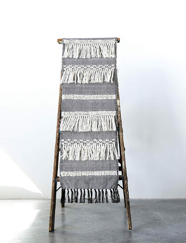 Cotton Table Runner w/ Fringe, Grey & Cream
