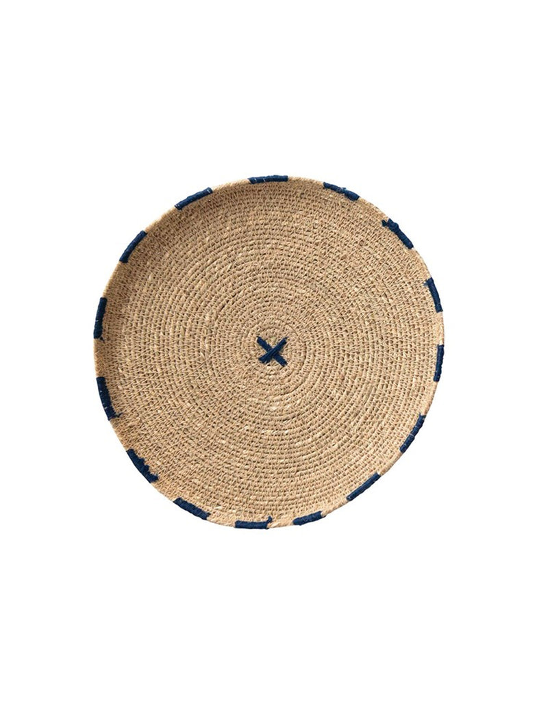 Round Decorative Hand-Woven Natural Seagrass Tray