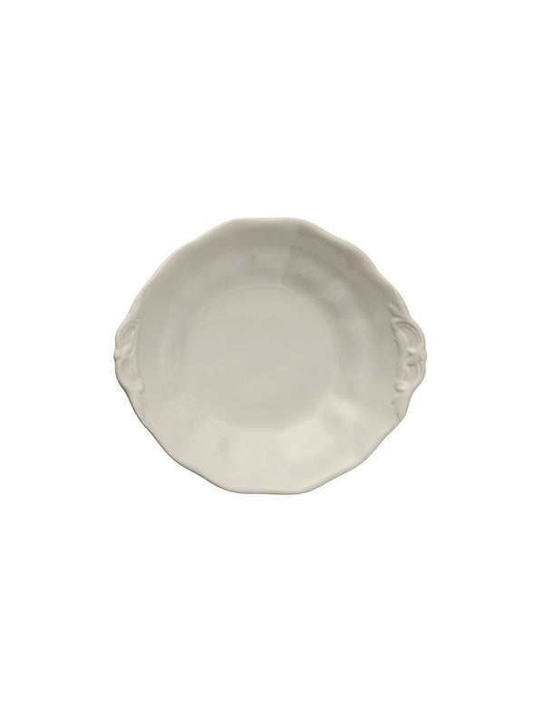 Stoneware Vintage Reproduction Footed Bowl, Antique White