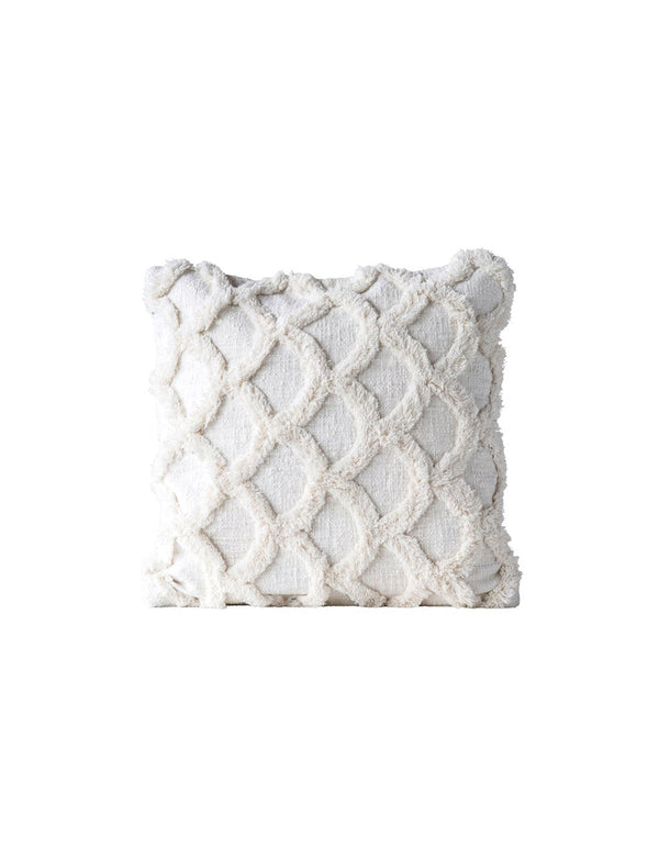 Square Cotton Chenille Scalloped Pillow / 18""