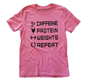 caffeine t shirt fitness weights chicken