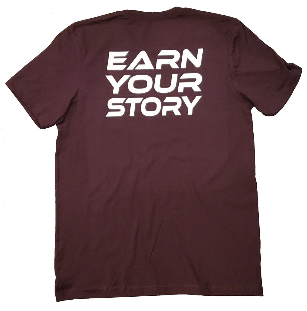 earn your story oxblood black gym tshirts tees planet fitness anytime fitness