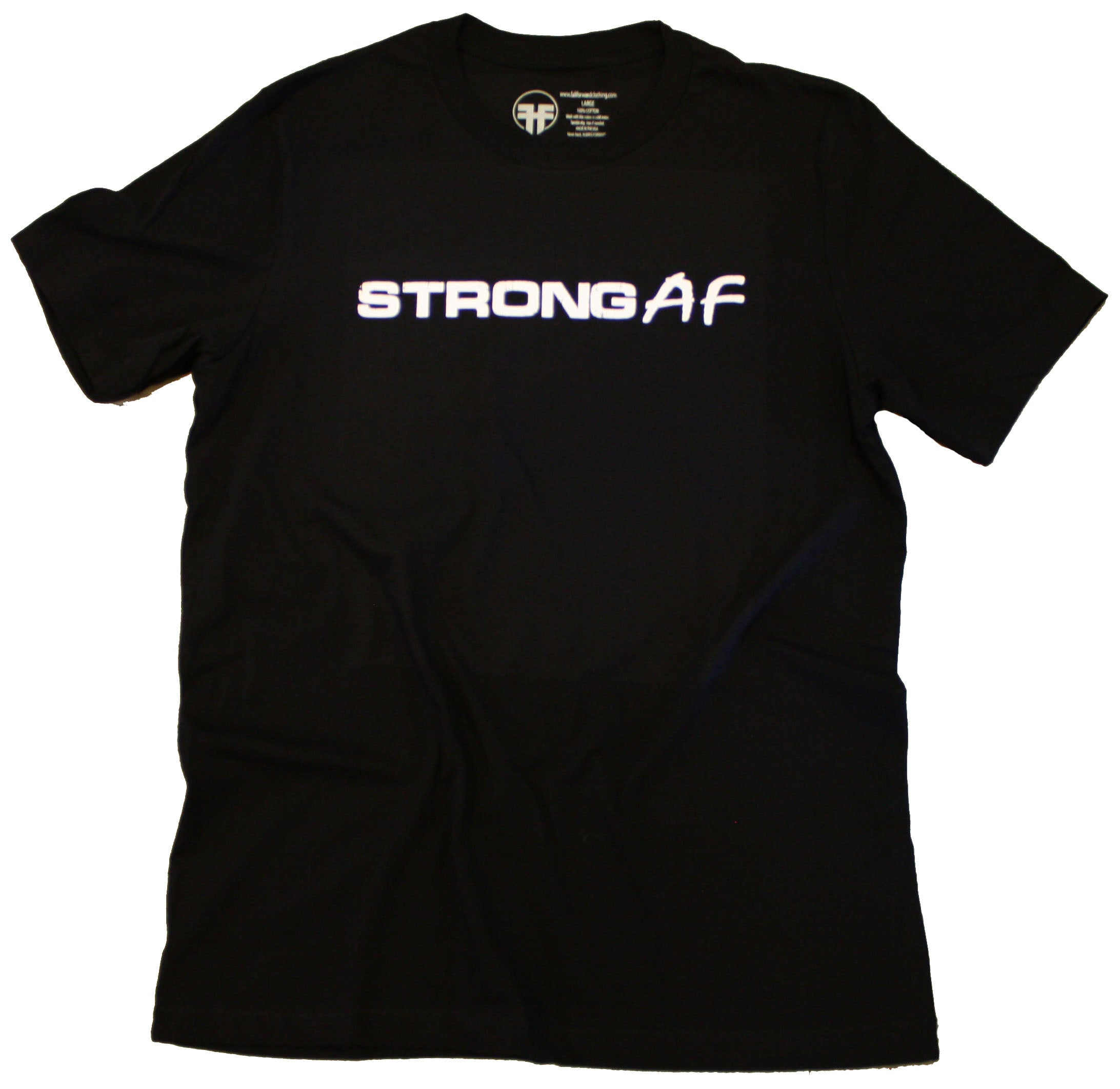 strong af black tee shirt gym planet fitness anytime fitness fall forward clothing premium