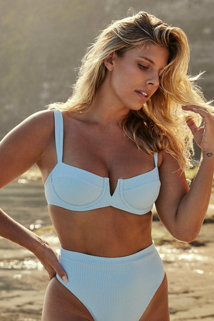 Clovelly Top - Sky Blue Rib