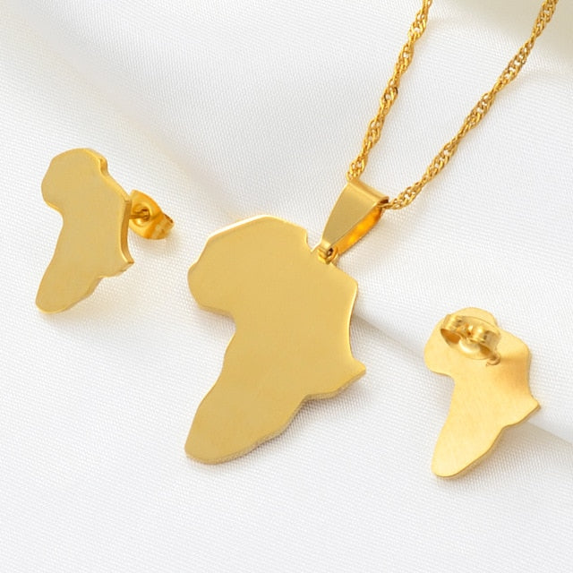 Africa Pendant Necklace and Earrings Gold/Silver