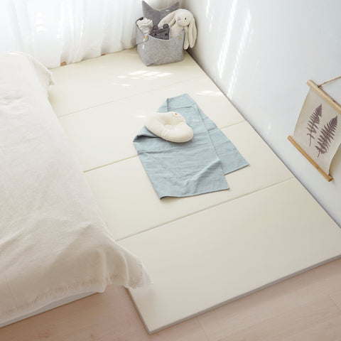 Monomat The Folding Play Mat: Non-Toxic Baby Foam Play Mat for Infants and Toddlers | Gray Reverse Side | Thick Padded Foam with Vegan Leather Cover | Neutral Colors