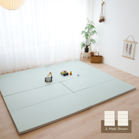 Monomat The Folding Play Mat: Non-Toxic Baby Foam Play Mat for Infants and Toddlers | Gray Reverse Side | Thick Padded Foam with Vegan Leather Cover | Neutral Colors.
