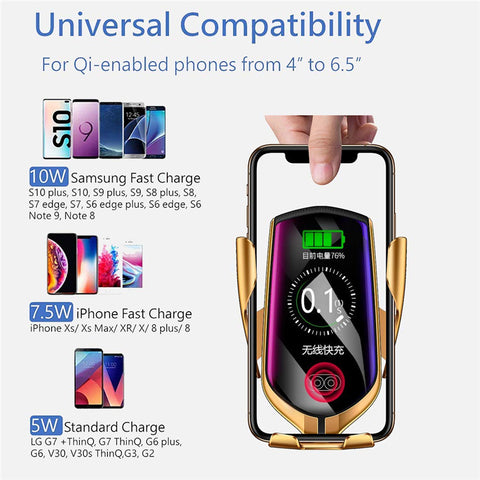 Fast Wireless Car Charger Automatic Clamp