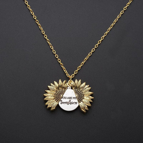 Vintage Sunflower Necklace You Are My Sunshine