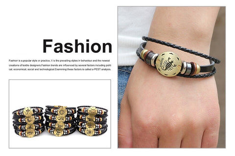 Zodiac Sign leather buckle Bracelet
