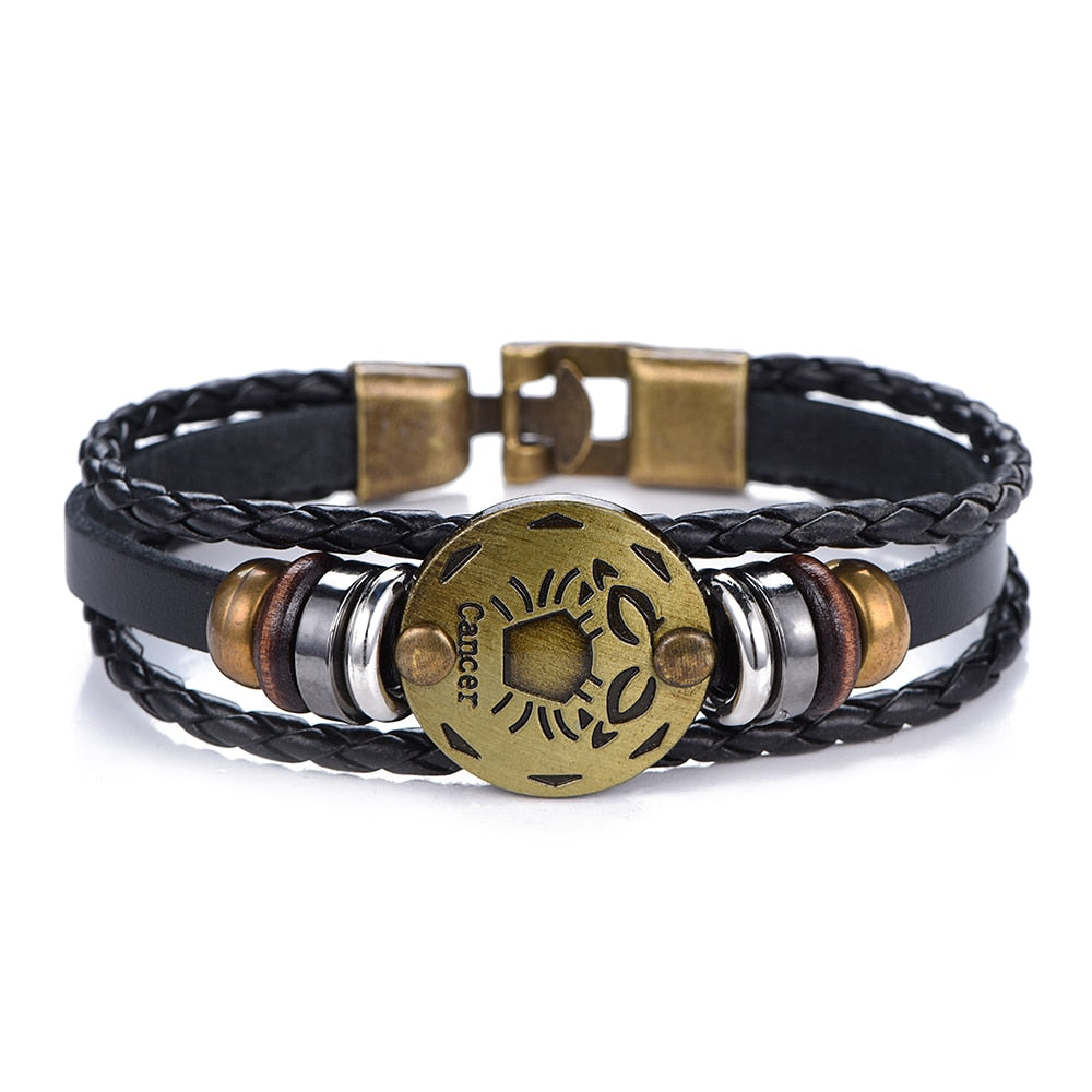 Novelty 12 Constellations Leather Bracelet Zodiac Signs