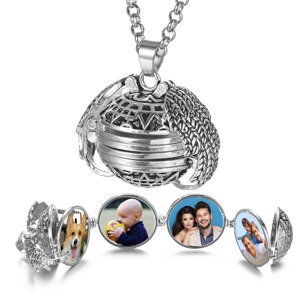 "Cool Expanding Photo Locket Necklace ""Angel Wings"""