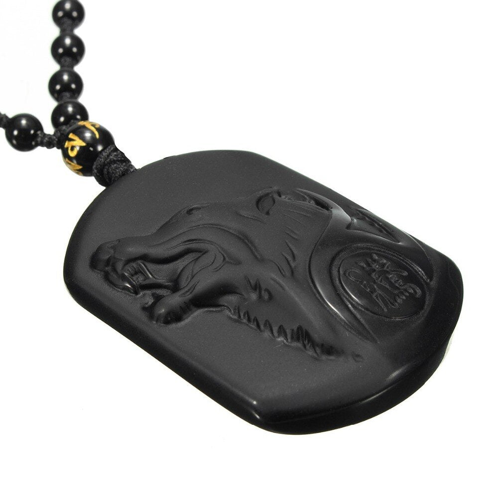 Black Obsidian Wolf Necklace