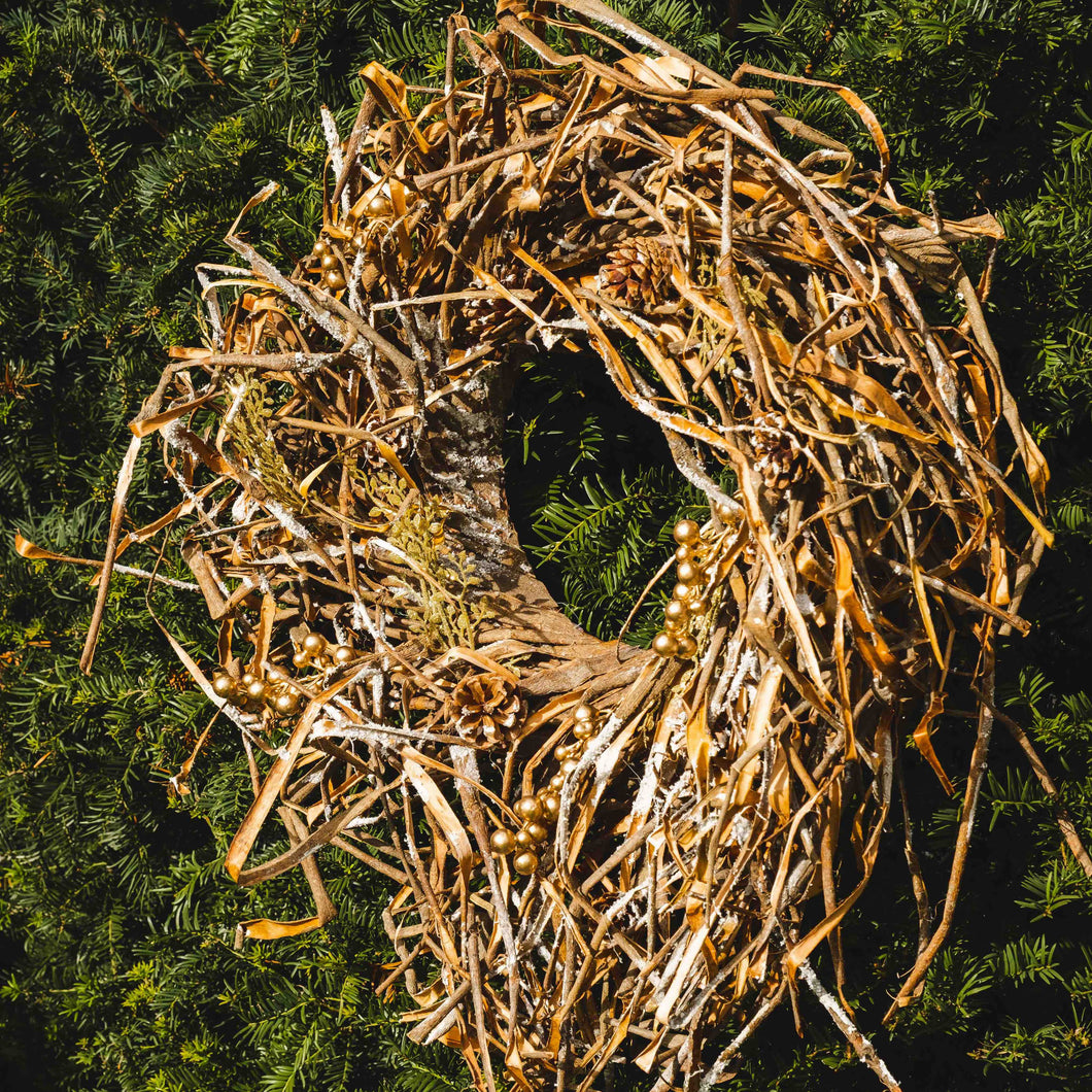 grass & bark nest wreath