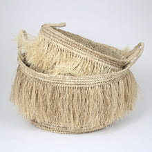 Load image into Gallery viewer, soft fringed raffia basket (3 sizes)