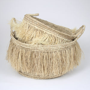 soft fringed raffia basket