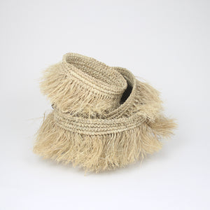 soft fringed raffia basket (3 sizes)