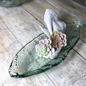 recycled glass leaf serving dish