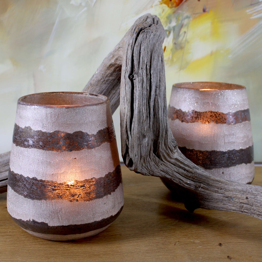 frosted smoky glass candle holder