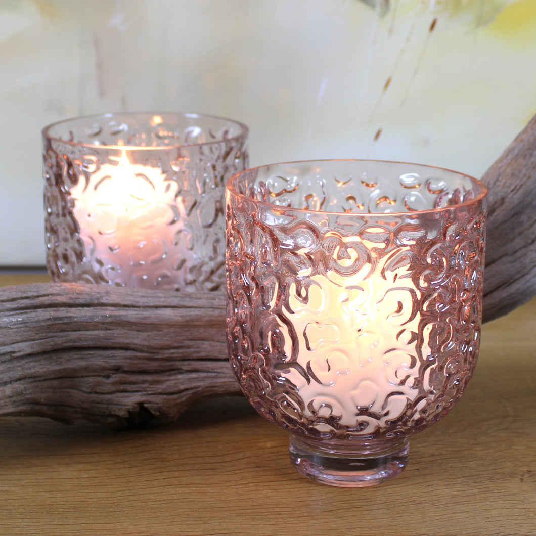 soft pink glass candle holder