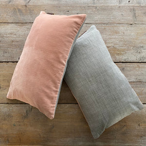 Pink and grey velvet cushion