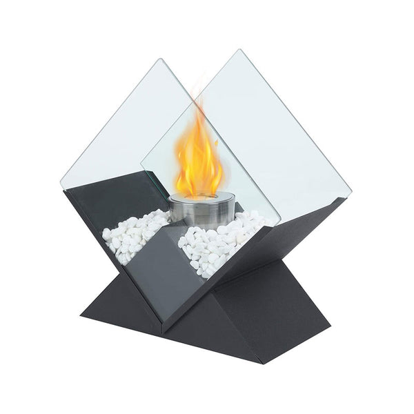"Diamond Tabletop Fire Bowl Pot 14 1/2"" Tall Portable Tabletop Fireplace–Clean-Burning Bio Ethanol Ventless Fireplace"