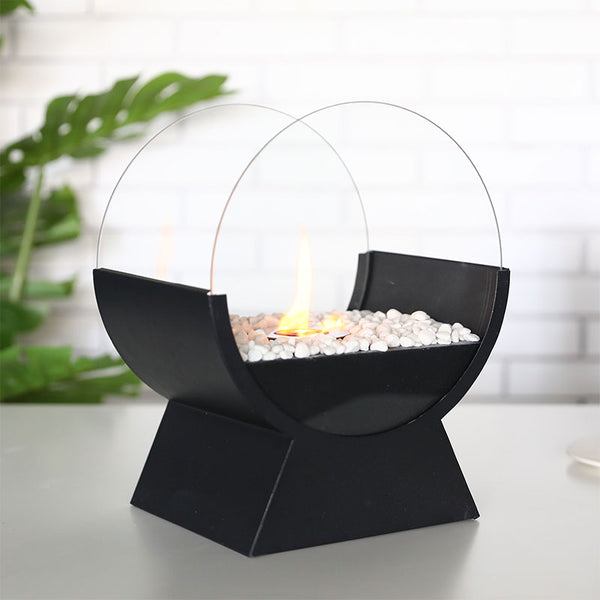 Round Glass Tabletop Fire Bowl Pot 13.5''Tall Portable Tabletop Fireplace–Clean-Burning Bio Ethanol Ventless Fireplace